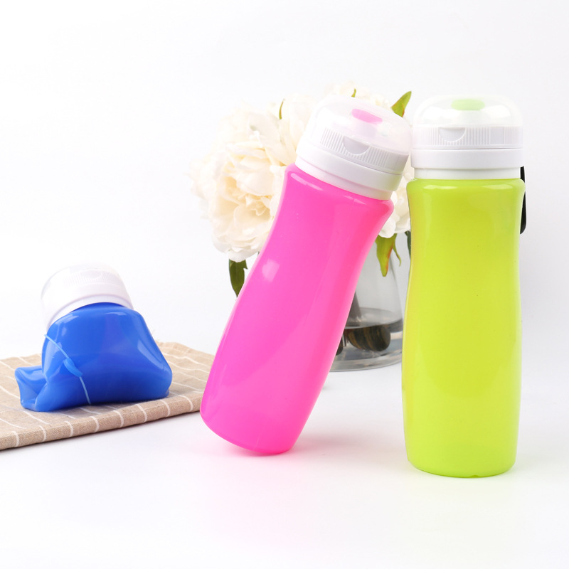 BPA Free Soft Silicone Collapsible Foldable Water Bottle