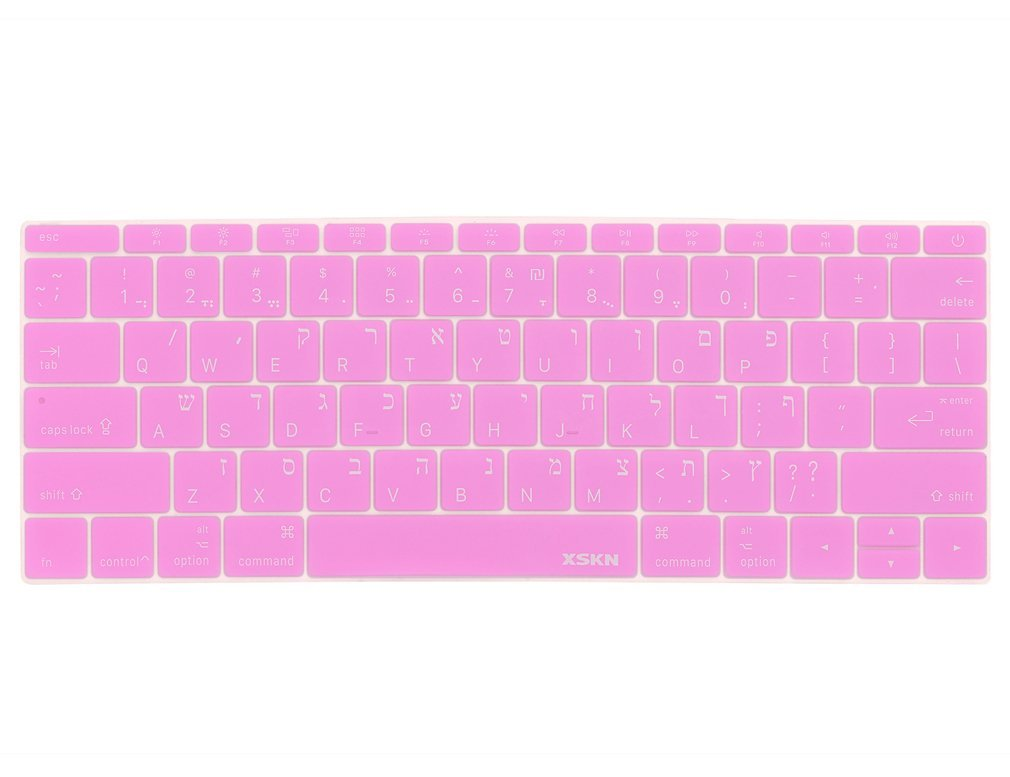 XSKN Hebrew Language Keyboard Cover Silicone Skin for MacBook 12 Inch with Retina Display US Layout - Pink