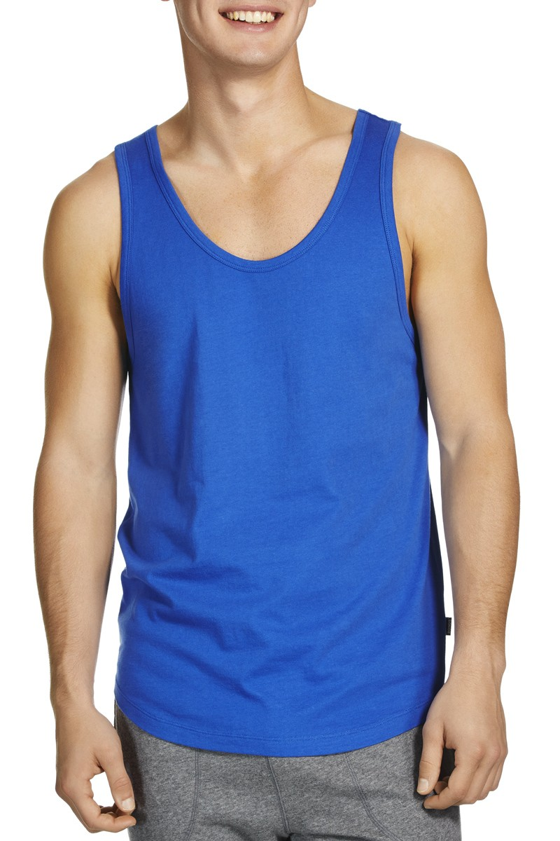 Dark Blue Plain Men Tank Tops