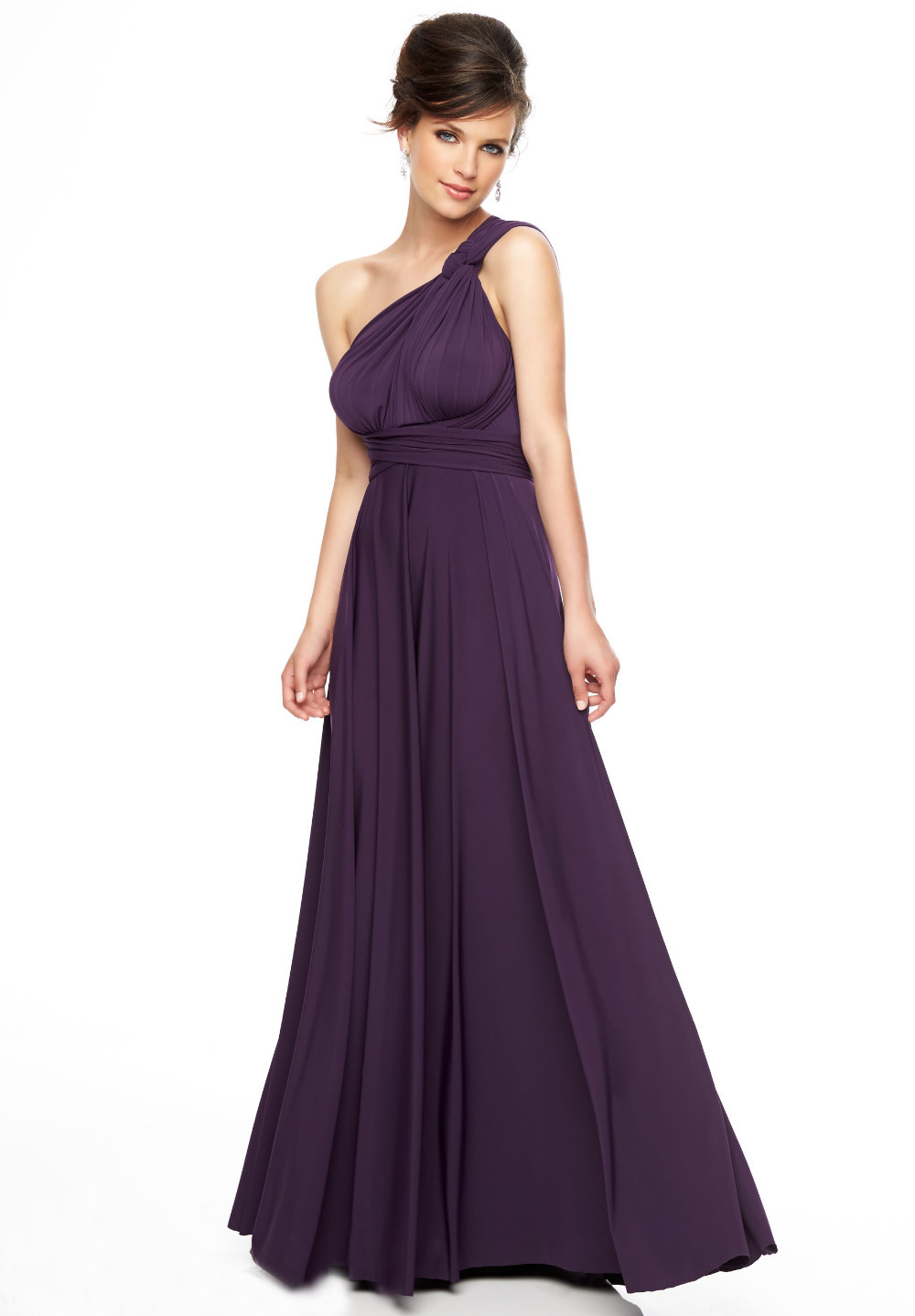 Get Quotations · Long chiffon purple bridesmaid dresses 2015 sexy one  shoulder cheap plus size wedding party dress gaun c9252a2e14