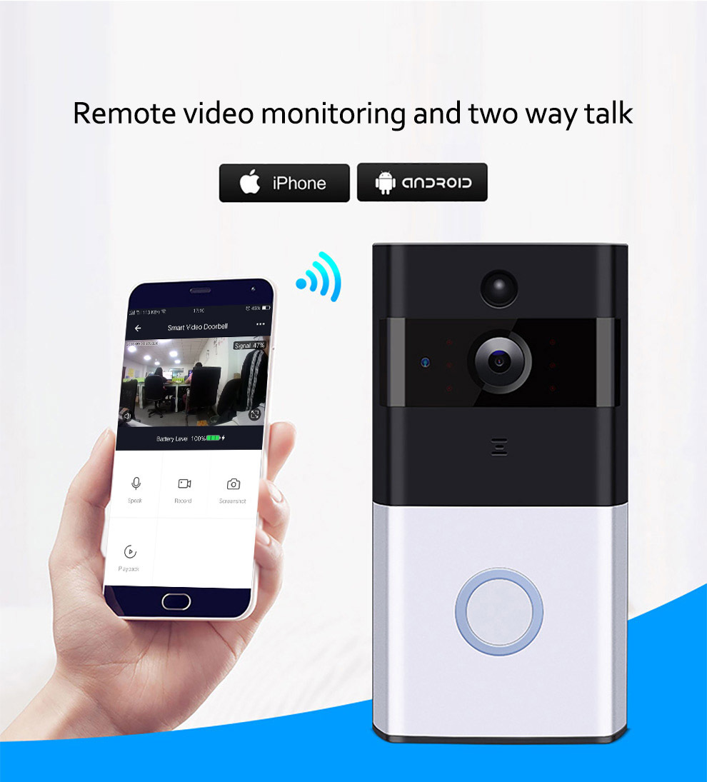 YOHEEN Draadloze Twee-Weg Intercom Systeem 720 P HD Ring Beveiliging IP Smart Wifi Video Deurbel Camera