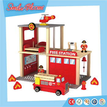 Hot Sale Wooden Fire Station Kids Toy View Diy Fire Station Bloomi Product Details From Ningbo Yinzhou Smilebloomi Arts Crafts Co Ltd On