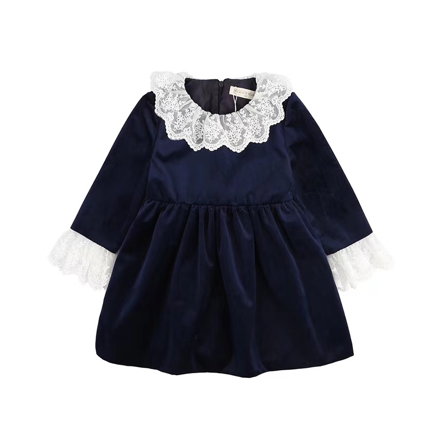 503d1a2ca spring girl frock dress kids girls dress long sleeve lace blue red baby  girl party dress velvet kids clothes wholesale 1 .6