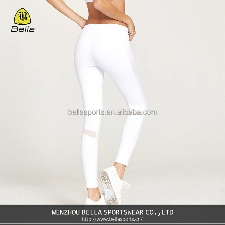 BELLA-A-62345 stretch <strong>sports</strong> running yoga tights with mesh