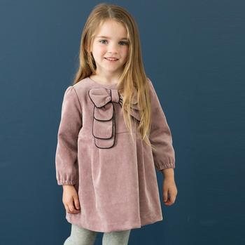Children bow dress girls autumn and winter long-sleeved dress princess girls dress