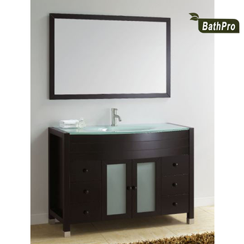 Big Size Floor Mounted Glass Vainty Top Bathroom Cabinets