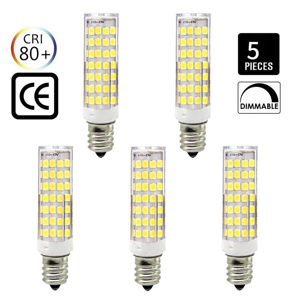 E12 led Bulb dimmable, 6.5W Equivalent to 65W-75W Incandescent lamp, Ceramic Lamps, 650 Lumens,Daylight White 6000K,AC110V /120V,NEW Listing (88pcs-2835-SMD LEDs)