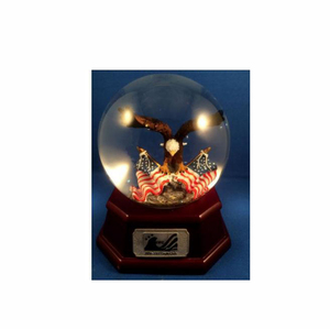 custom made handmade carved resin eagle snow globe