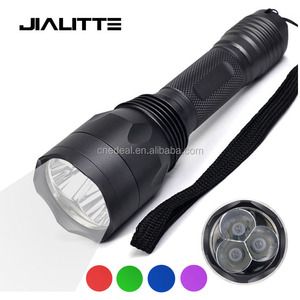 Jialitte F135 Multi Color Hunting Tactical Flashlight White/Green/Red/Blue/UV Light LED Outdoor Lantern Mini Torch