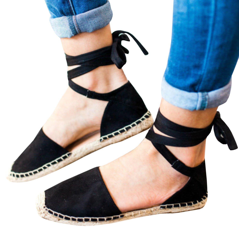 1fe3cbcc9 Pxmoda Women s Bandage Flip-Flop Sandal Flats Ankle Wrap Espadrille Flat  Sandals
