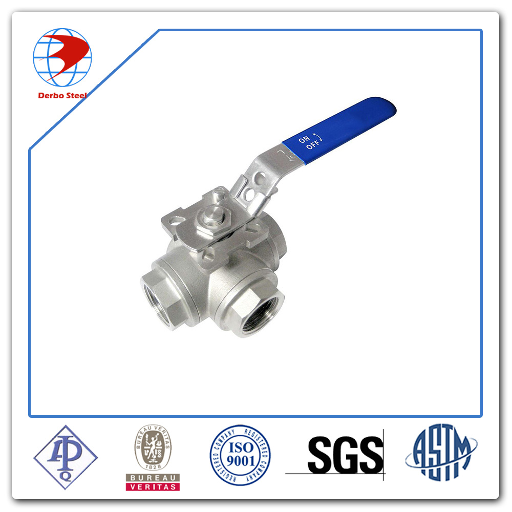 High quality BSP/NPT Female Threaded Stainless Steel Three Way Ball Valve