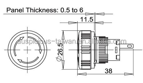 ip65 waterproof 16mm vergrendeling noodstop vuistslag