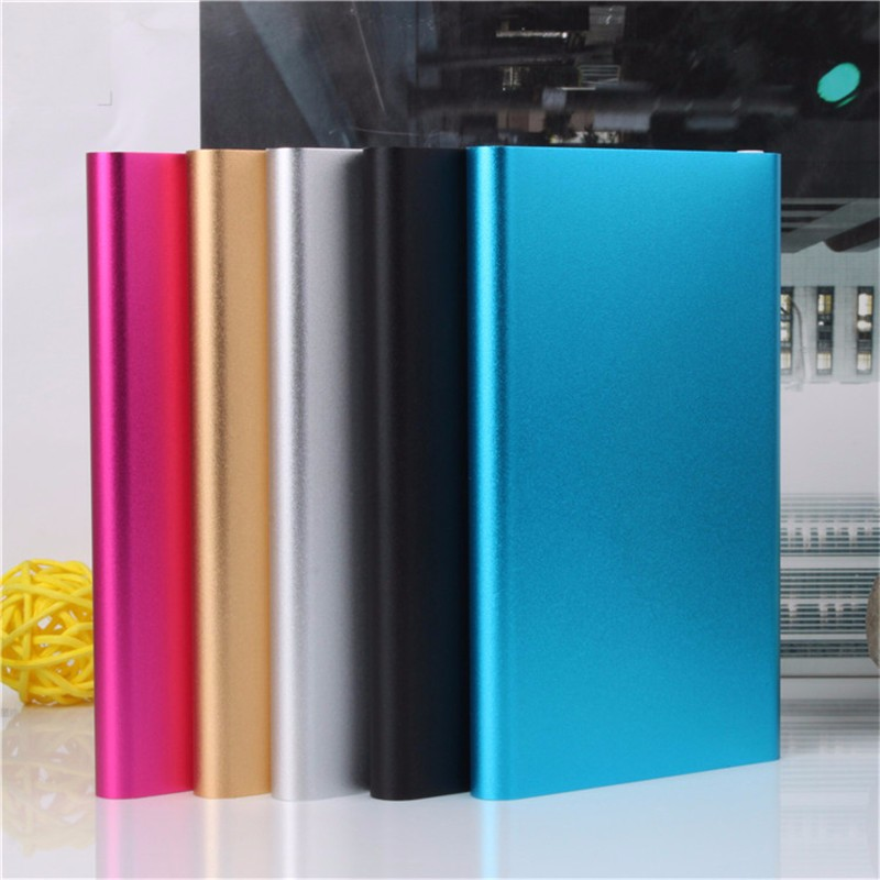 Ultra-thin Power Bank 5000mah Metal Case USB Li Polymer External Battery Portable Charger Powerbank for all phone