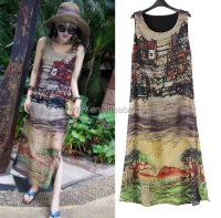 2015 summer new silk chiffon sleeveless dress retro house pattern split beach dress