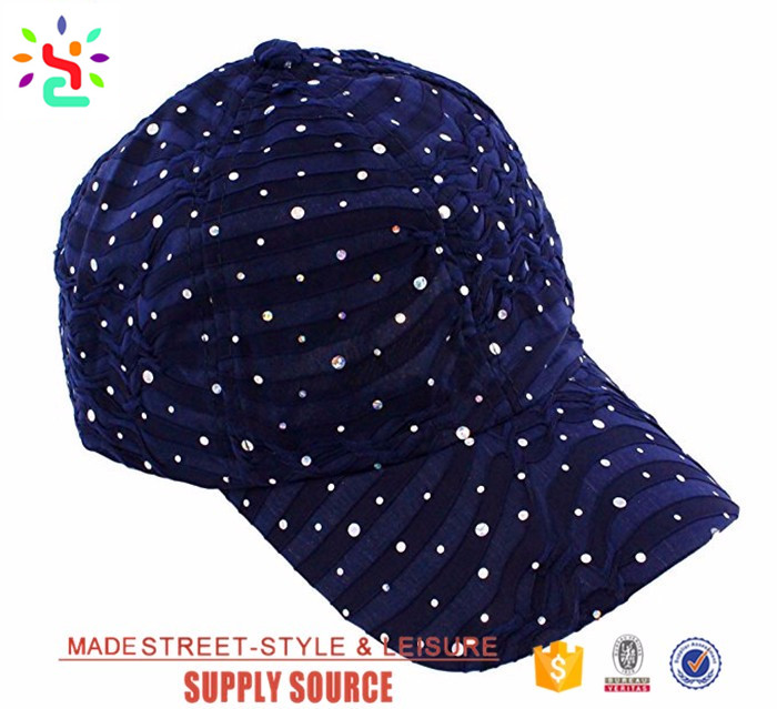 Stylish glitter top hat custom baseball hat with top button curve brim hats and caps for girls sequin beret cap
