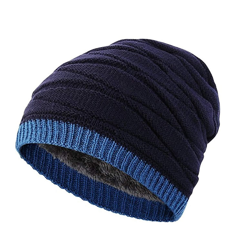 0dc8a68849e Get Quotations · Liouliu Mens Slouchy Beanie Skull Cap Lined Oversized  Baggy Winter Hat Kint Cap