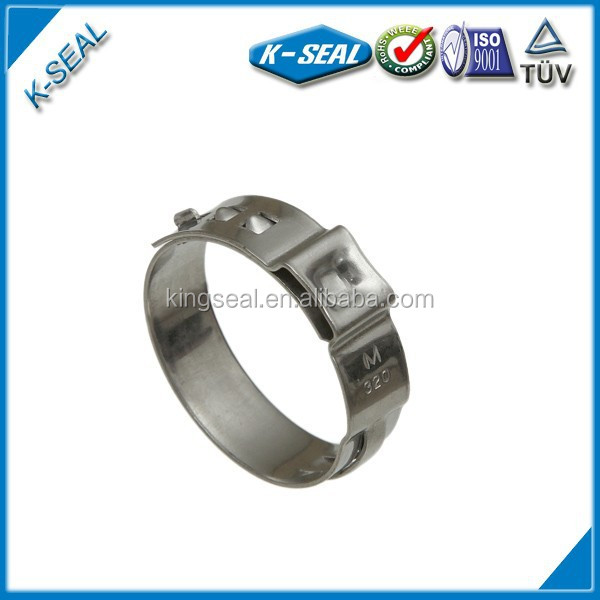 stainless steel stepless single ear pinch clamps for airbag/filter bag connection