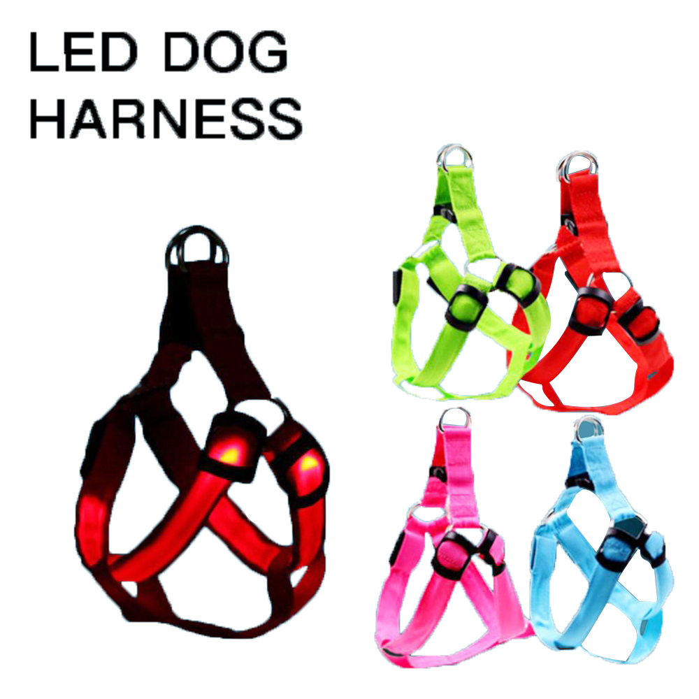 Wholesale Manufacturer Custom Rechargeable Adjustable Fashion Fashionable Light Up Nylon Led Bar Wire Wiring Pet Dog Harness