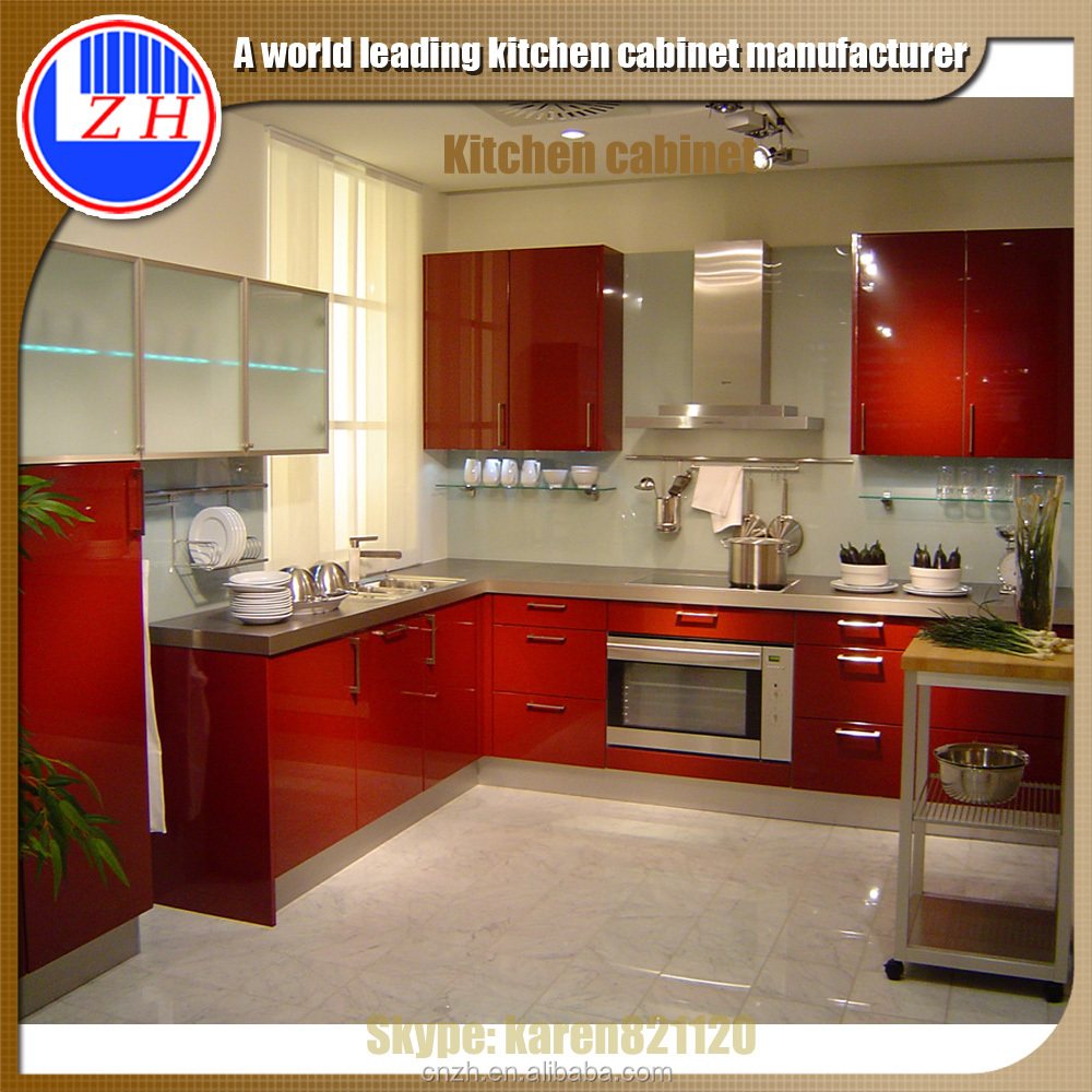 Buy Kitchen Cabinet Doors: High Gloss Red Kitchen Cabinet With Acrylic Cabinet Door