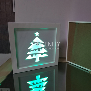 Christmas Tree Design White MDF Metal Colorful LED Home Wall Ornament