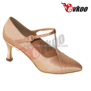 Female modern sheos T- Strap 7 cm high heels ladies Evkoo Dancing Shoes Satin Line Salsa dance shoes 4706601