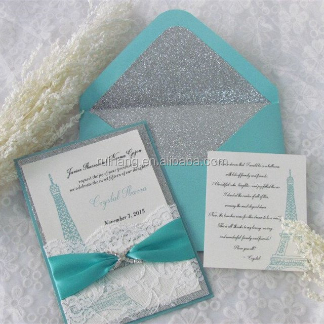 2015 handmade silver glitter paper with lace pocket & hot foil words wedding invitation cards
