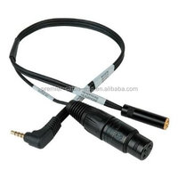 Angle TRRS to XLR Mic & 3.5mm Monitoring Jack Cable, 1 Feet