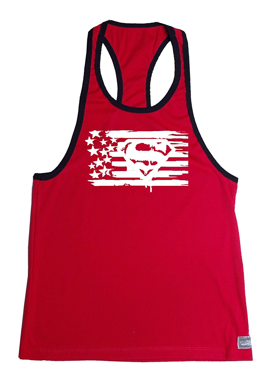 7e67cea5b48a43 Get Quotations · Fitted Stringer Hardcore Bodybuilder Tank Top With White  Super Flag Design