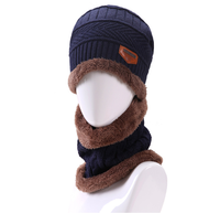 Wholesale Promotional Chinese Men's Knitted Winter Beanie Hat Men Hats And Scarf Sets
