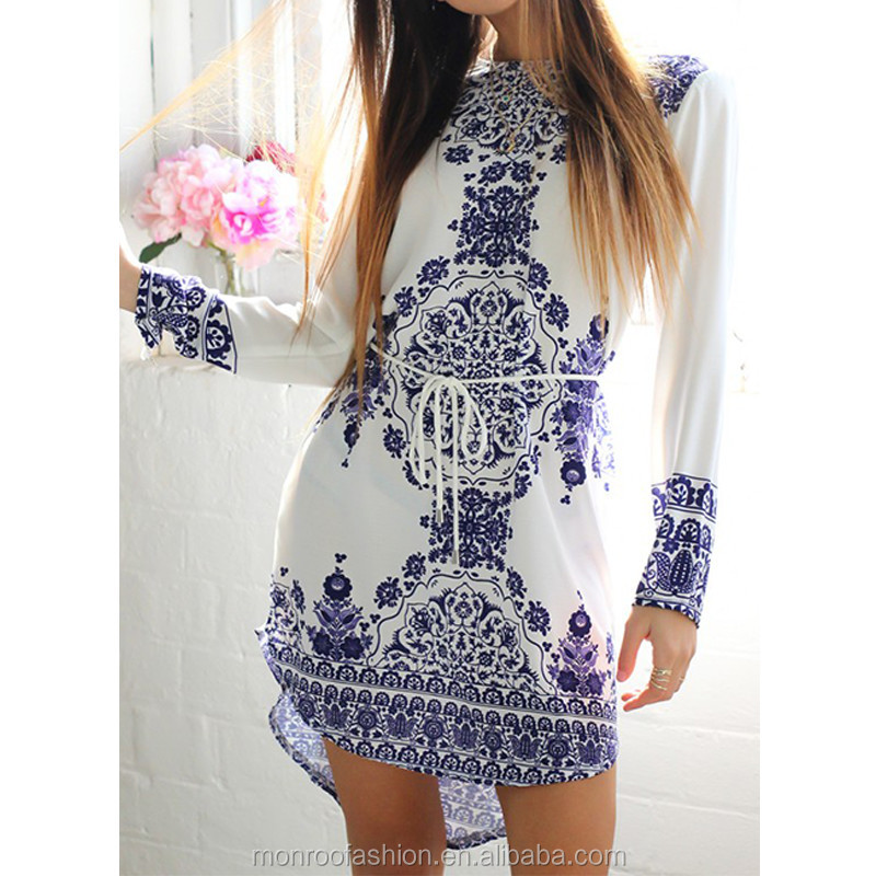 monroo Women Elegant Dresses 2016 New Long Sleeve Causal Dress Fashion Chinese Style Blue And White Porcelain One-piece Dress