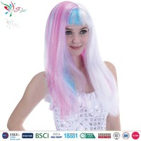 Styler Brand 2016 supplier 24 inch crazy mix styles synthetic colorful curly wig multi color wigs