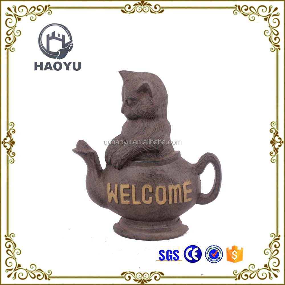 Decorative cast iron animal cat with teapot door stopper for home decor