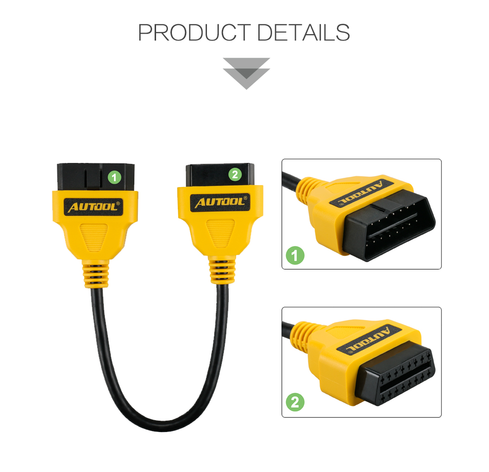 AUTOOL Auto OBD 2 Diagnostic Adapter Cable Car OBD2 II ELM327 Extend Connector Scanner 16Pin Male to Female Extension Wire 30cm