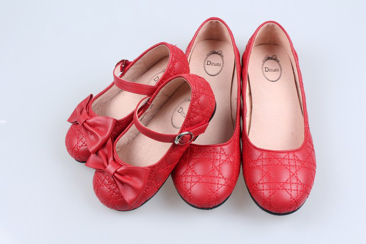 cheap wholesale kids leather shoes red golden silver bow girls toddler dress shoes