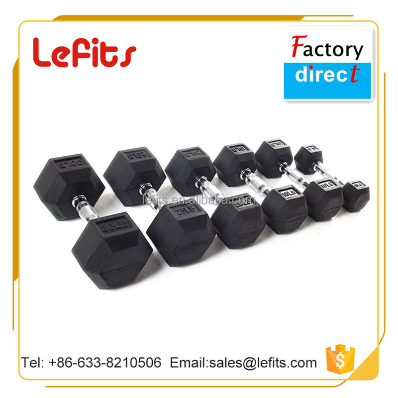 Crossfit Gym Basic Equipment Rubber Coated Hex Dumbbell