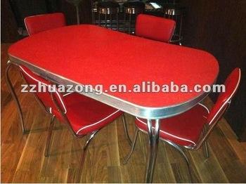 Table Et Chaise De Salle A Manger Retro En Chrome De Style 1950