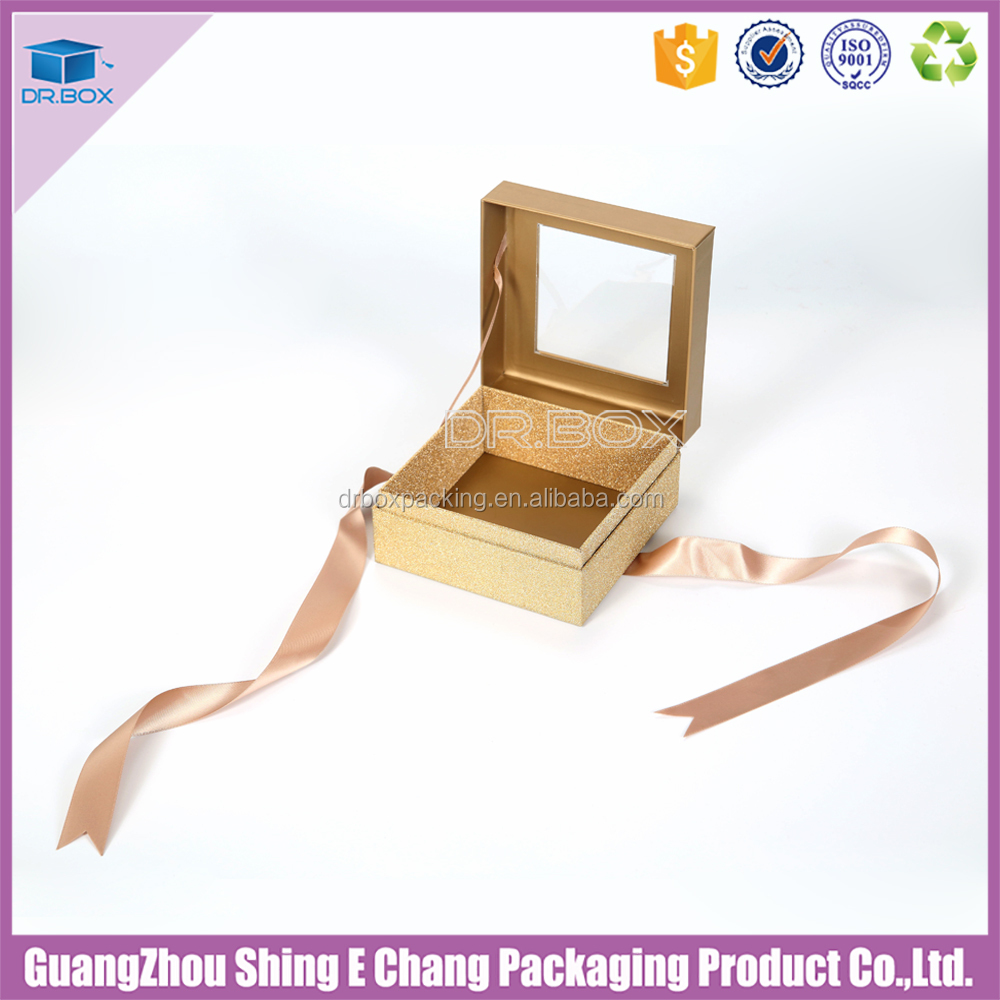 High quality Squarewhite cardboard 3-ply Kraft plastic transparency presentation box