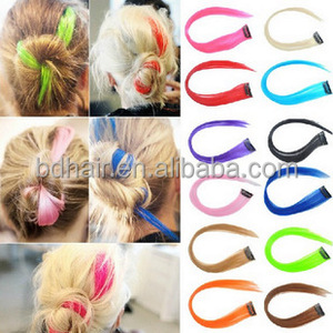 2014 Colorful highlight synthetic hair clip in streaks single strip clip hair extension