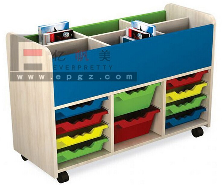 Kindergarten Furniture Wooden Plastic Drawer Storage