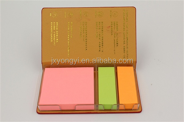 Pu Leather Case Sticky Note Pads With Calendar