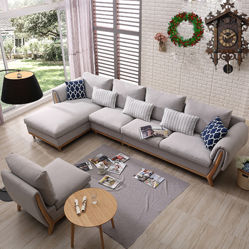 Alibaba French Sofa Fabric L Shaped With Solid Wood Leg Modern Living Room Set