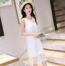 Женская ночная рубашка Fdfklak, Повседневный хлопковый сексуальный кружевной пеньюар, эластичная ночная рубашка 3XL, на лето(Китай)