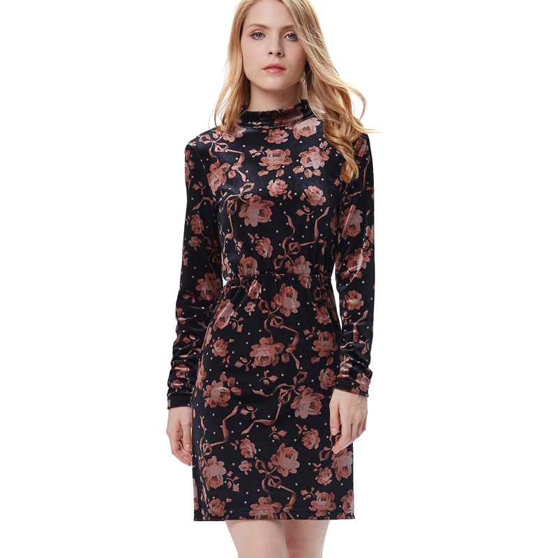 long sleeve hot style lady dress print short frock velvet dress