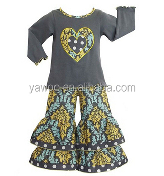 Newest Designer Wholesale Organic Baby Clothes Vintage Floral Ruffle