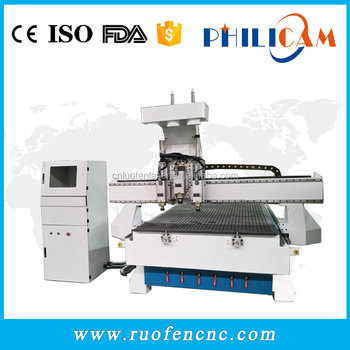Philicam wood cabinet engraving machine 1325 cnc router 3 heads