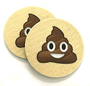 Pile of Poo Emoji Car coasters for your cars cup holder - Set of two super absorbent Car Coasters - Smiling Poop Emoji