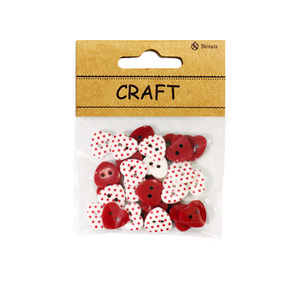 Popular small packaging 20L Dot Printed Mixed Red Heart Shape Resin Button For Girls