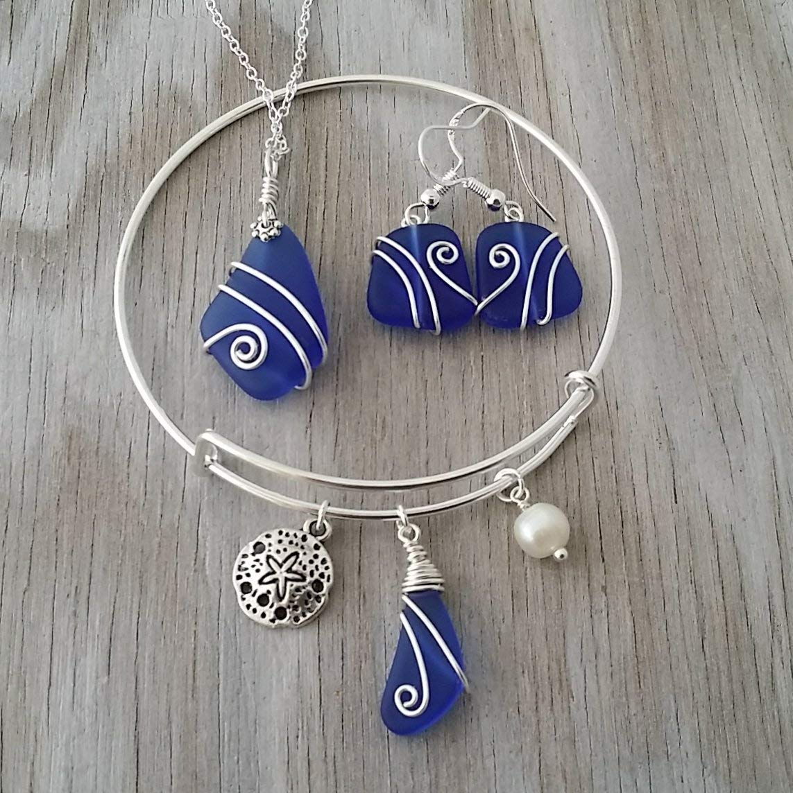 Handmade in Hawaii, Wire wrapped cobalt blue sea glass necklace + earrings + bracelet jewelry set, Sand dollar charm, Hawaiian Gift, FREE gift wrap, FREE gift message, FREE shipping