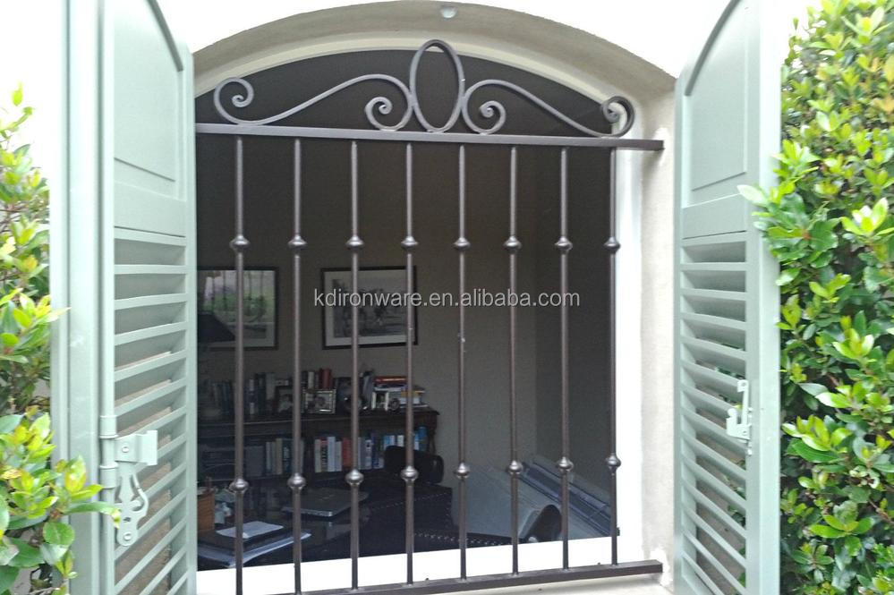 Wrought iron material modern iron window grill design for Modern house grill design