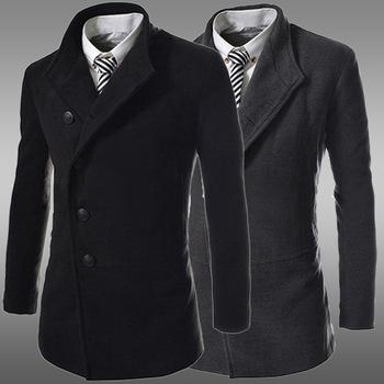 High Quality Mens Virgin Wool Cashmere Pea Coat M L Xl
